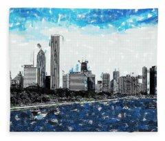 Lake Michigan And The Chicago Skyline Fleece Blanket