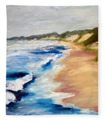 Lake Michigan Beach With Whitecaps Detail Fleece Blanket