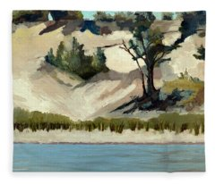Lake Michigan Dune With Trees And Beach Grass Fleece Blanket