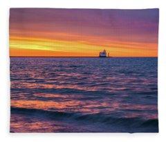 Lake Michigan Matins Fleece Blanket