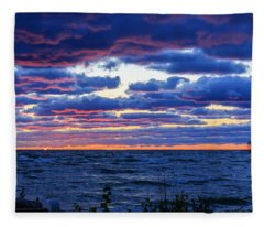 Lake Michigan Windy Sunrise Fleece Blanket