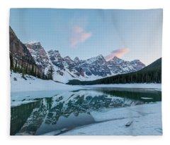 Moraine Lake At Sunset Fleece Blanket