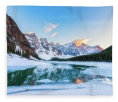 Lake Moraine Sunset Fleece Blanket