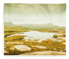 Lake On A Mountain Fleece Blanket