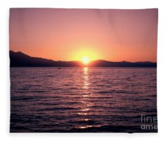 Lake Sunset 8pm Fleece Blanket