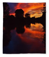 Lake Sunset Reflections Fleece Blanket