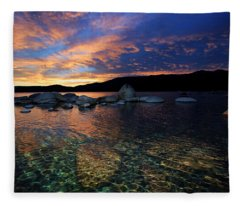 Lake Tahoe Sundown Fleece Blanket