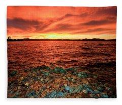 Lake Tahoe...blood Moon Sunset Fleece Blanket