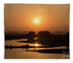 Lake Taungthaman Fleece Blanket