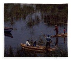 Lake Titicaca Reed Boats Fleece Blanket