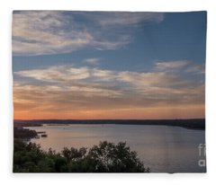 Lake Travis During Sunset With Clouds In The Sky Fleece Blanket