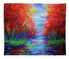 Olena Art Lake View Abstract Artwork Fleece Blanket