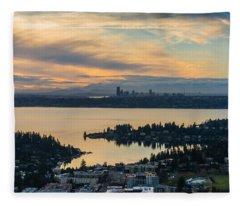 Lake Washington And The Seattle Skyline Aerial Fleece Blanket