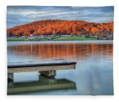 Autumn Red At Lake White Fleece Blanket