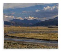 Lamar Valley Panorama Fleece Blanket