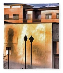 Lamp Post Shadow And Bent Sign Fleece Blanket