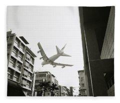 Landing In Hong Kong Fleece Blanket