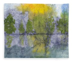 Landscape Reflection Abstraction On Masa Paper Fleece Blanket