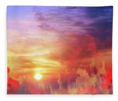 Landscape Of Dreaming Poppies Fleece Blanket