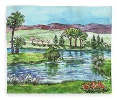 Landscape Spring In California Fleece Blanket