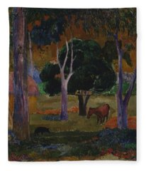 Landscape With A Pig And A Horse  Fleece Blanket