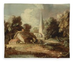 Landscape With Cottage And Church Fleece Blanket