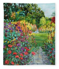 Landscape With Poppies Fleece Blanket