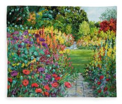 Landscape With Poppies Fleece Blanket