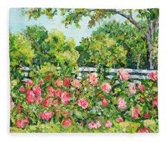 Landscape With Roses Fence Fleece Blanket
