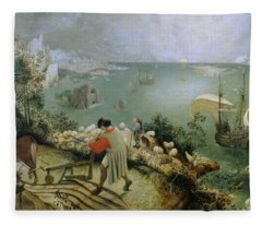 Landscape With The Fall Of Icarus Fleece Blanket