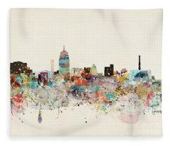 Lansing Michigan Skyline Fleece Blanket