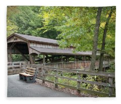 Lanterman's Mill Covered Bridge Fleece Blanket