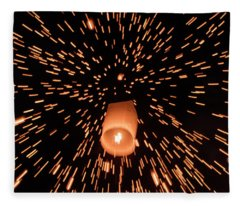 Fleece Blanket featuring the photograph Lanterns In The Sky by Pradeep Raja Prints