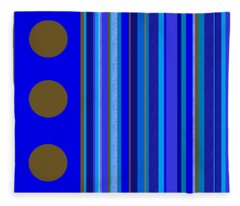 Large Blue Abstract - Panel Three Fleece Blanket