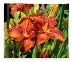 Large Deep Orange Tiger Lilys Fleece Blanket