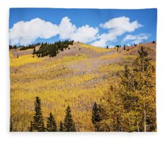 Large Hill Of Aspen Trees In Fall Fleece Blanket