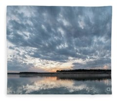 Large Panorama Of Storm Clouds Reflecting On Large Lake At Sunse Fleece Blanket