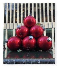Large Red Ornaments Fleece Blanket