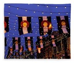 Larimer Square Denver With Colorado Flags Fleece Blanket