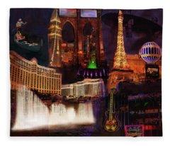 Las Vegas Collage Fleece Blanket