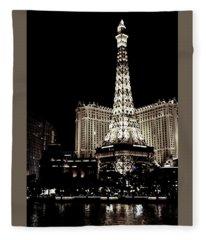 Las Vegas Eiffel Tower Vintage Fleece Blanket