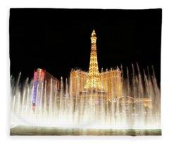 Las Vegas Fountain Eiifel Tower Fleece Blanket