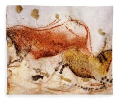 Lascaux Cow And Horse Fleece Blanket