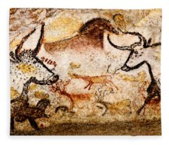 Lascaux Hall Of The Bulls - Deer And Aurochs Fleece Blanket