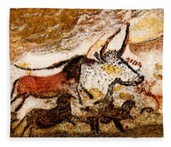 Lascaux Hall Of The Bulls - Horses And Aurochs Fleece Blanket