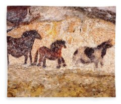 Lascaux Horses Fleece Blanket