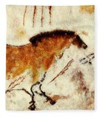 Lascaux Prehistoric Horse Detail Fleece Blanket