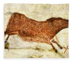 Lascaux Red Horse Fleece Blanket
