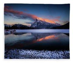 Last Light On Mount Rundle Fleece Blanket