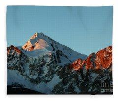 Last Light On Mt Huayna Potosi Fleece Blanket